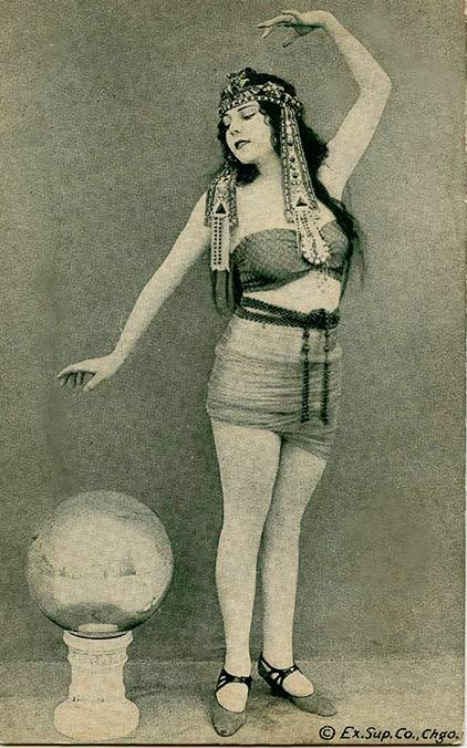 postcard chicago exhibit supply company woman standing egyptian style...