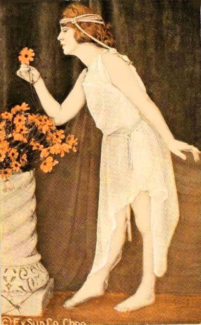 ARCADE CARD - EXHIBIT SUPPLY COMPANY - PIN-UP - WOMAN STANDING PROFILE IN LONG NIGHTIE TAKING FLOWER FROM VASE - CLASSICAL POSE - 1920s