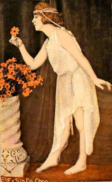 arcade-card-exhibit-supply-company-pin-up-woman-standing-profile-in-long-nightie-taking-flower-from-vase-classical-pose-1920s