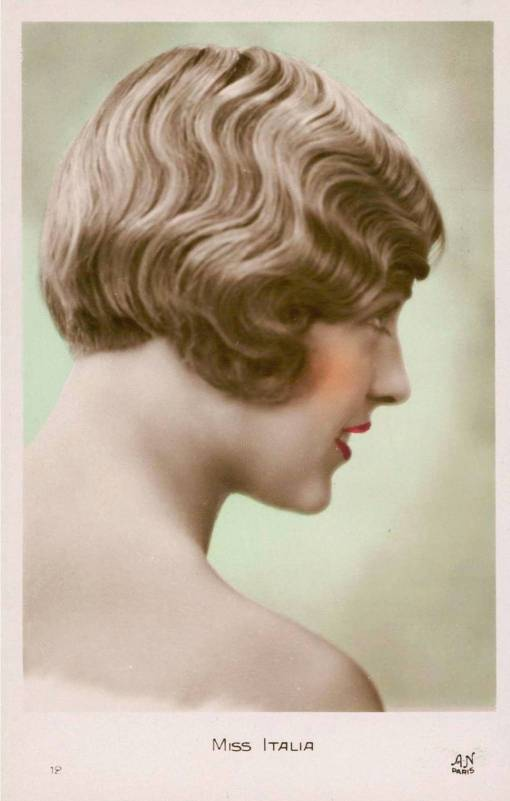 ARCADE CARD - AN PARIS - MISS ITALIA - ONE OF A SERIES - FLAPPER STYLE PROFILE - c1925