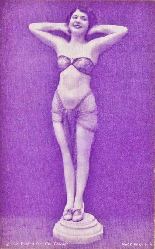 ARCADE CARD - EXHIBIT SUPPLY COMPANY - PIN-UP - WOMAN ON PEDESTAL WITH ARMS UP AND HANDS BEHIND HEAD - BOBBED HAIR - 1929