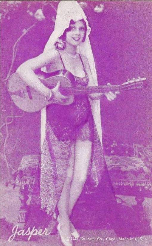 ARCADE CARD - EXHIBIT SUPPLY COMPANY - PIN-UP  -  WOMAN STANDING WITH GUITAR AND SPANISH LACE - GEM SERIES - JASPER - 1928