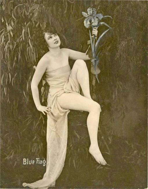 A ARCADE CARD - EXHIBIT SUPPLY COMPANY - PIN-UP - WOMAN SITTING IN LONG WRAP HOLDING FLOWERS - BLUE FLAG - 1920s