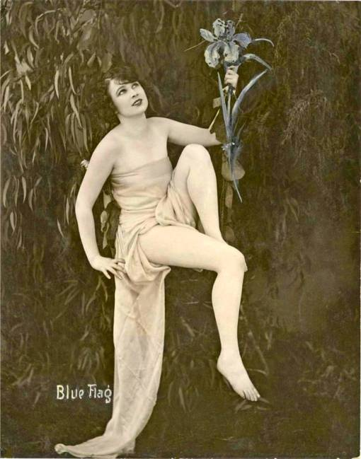 a-arcade-card-exhibit-supply-company-pin-up-woman-sitting-in-long-wrap-holding-flowers-blue-flag-1920s