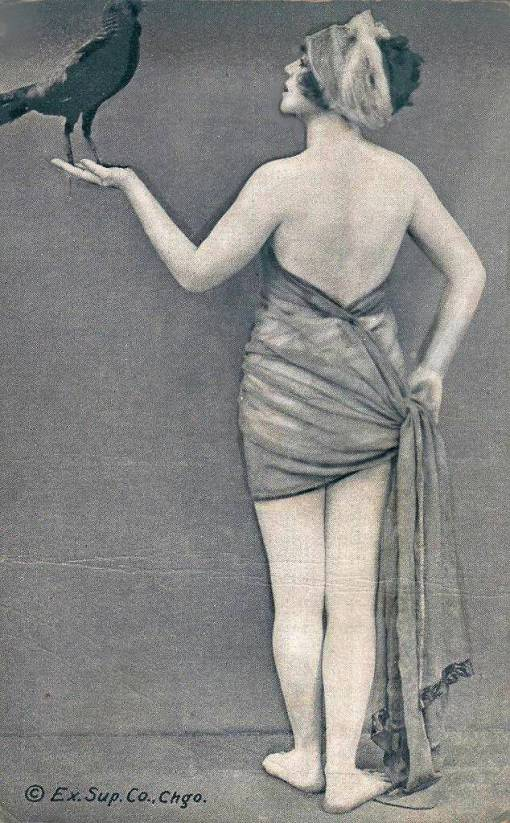 arc-arcade-card-exhibit-supply-company-pin-up-woman-standing-back-to-camera-with-head-profile-holding-bird-and-end-of-garment-1920s