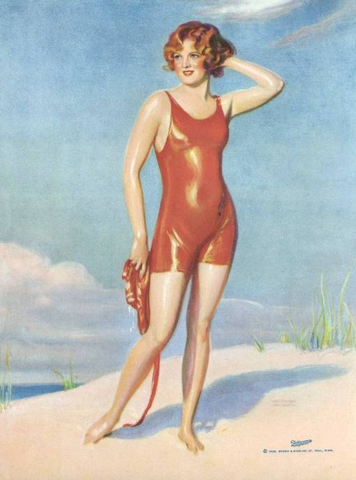 ARCADE CARD - BROWN AND BIGELOW - DRAWING - WOMAN IN RED BATHING SUIT ON BEACH - 1926