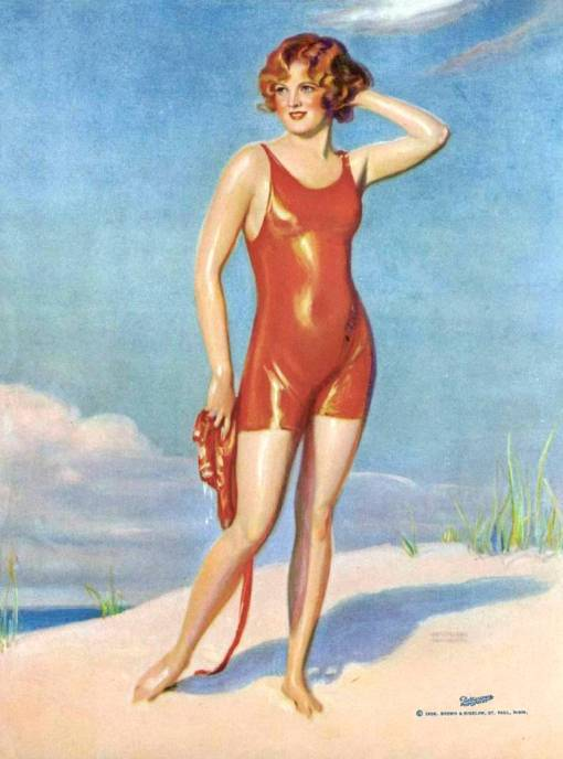 arcade-card-brown-and-bigelow-drawing-woman-in-red-bathing-suit-on-beach-1926